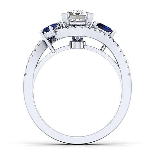 Demi 14k White Gold Emerald Cut Bypass Engagement Ring angle 2
