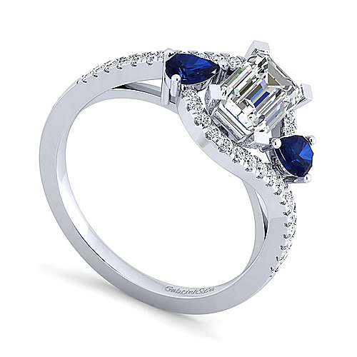 Demi 14k White Gold Emerald Cut Bypass Engagement Ring angle 3
