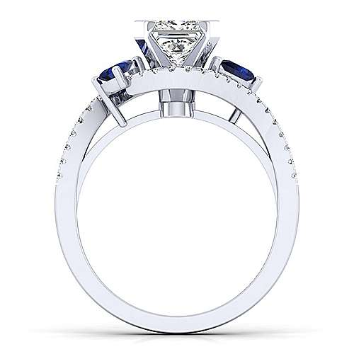 Demi 14k White Gold Princess Cut Bypass Engagement Ring