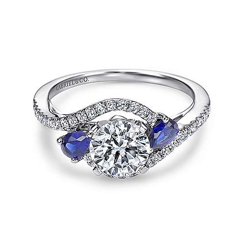 Gabriel - Demi 14k White Gold Round 3 Stones Engagement Ring