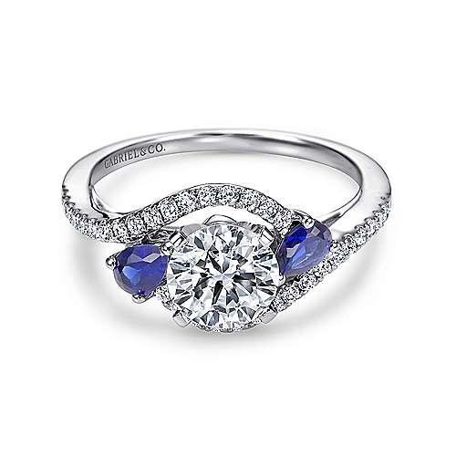 Demi 14k White Gold Round 3 Stones Engagement Ring