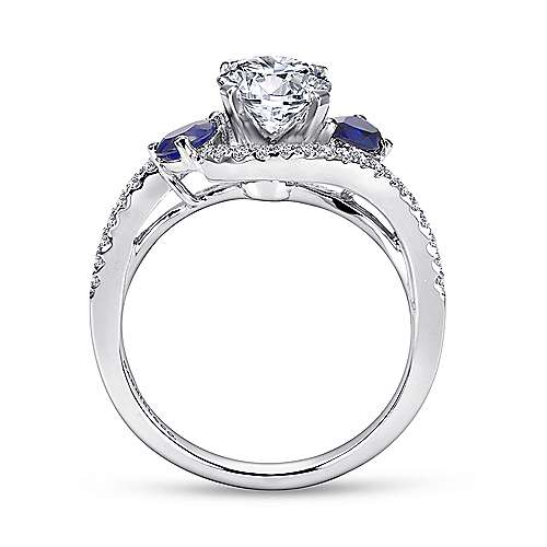 Demi 14k White Gold Round 3 Stones Engagement Ring angle 2