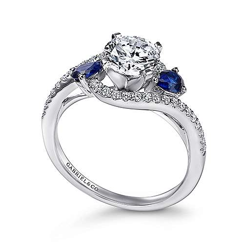 Demi 14k White Gold Round 3 Stones Engagement Ring angle 3