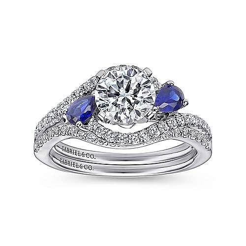 Demi 14k White Gold Round 3 Stones Engagement Ring angle 4