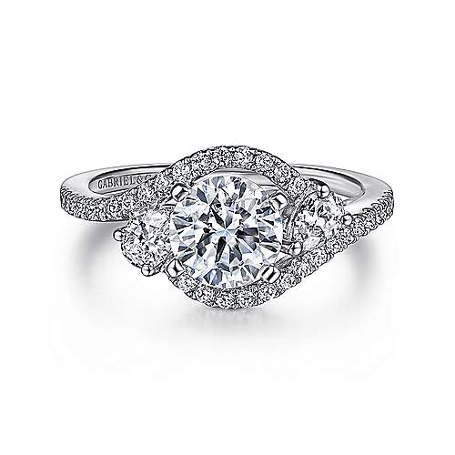 Gabriel - Demi 14k White Gold Round Bypass Engagement Ring