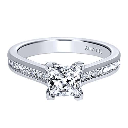 Denita 18k White Gold Princess Cut Straight Engagement Ring angle 1