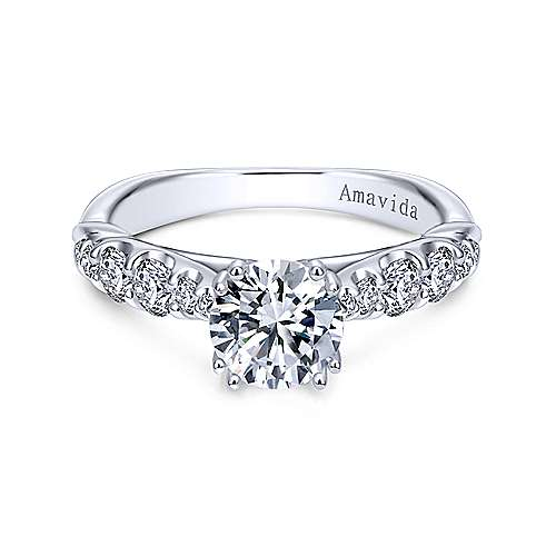 Desire 18k White Gold Round Straight Engagement Ring angle 1