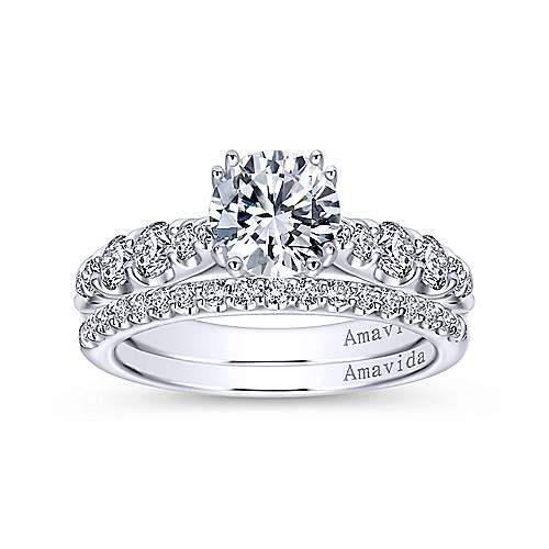Desire 18k White Gold Round Straight Engagement Ring