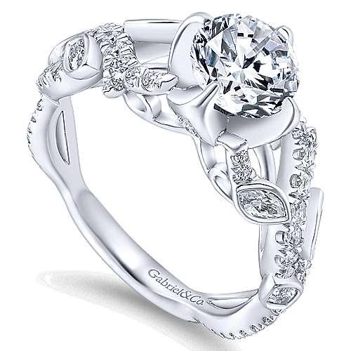 Desiree 14k White Gold Round Twisted Engagement Ring