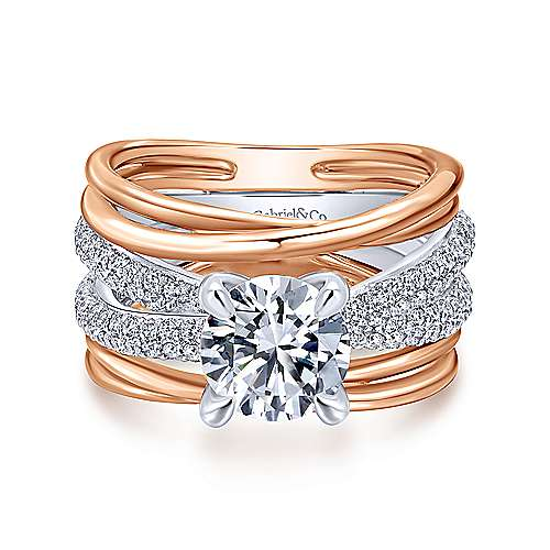 Gabriel - Desiree 18k White/rose Gold Round Twisted Engagement Ring