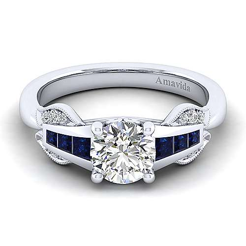 Gabriel - Devine 18k White Gold Round Straight Engagement Ring