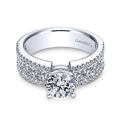 Gabriel - Devon 14k White Gold Round Straight Engagement Ring