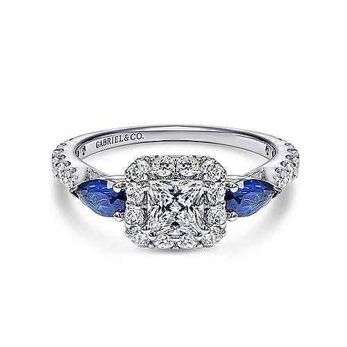 Gabriel - Devoted 14k White Gold Princess Cut Halo Engagement Ring
