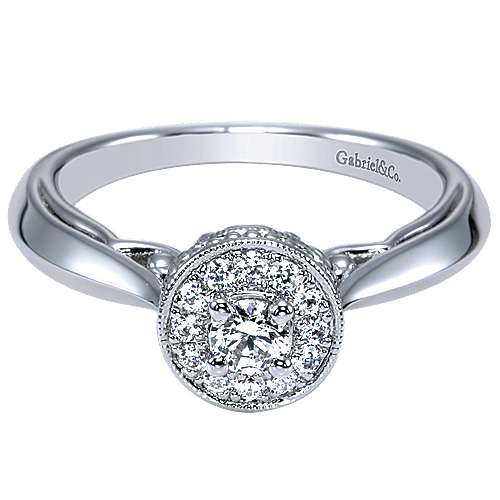 Gabriel - Devyn 14k White Gold Round Halo Engagement Ring