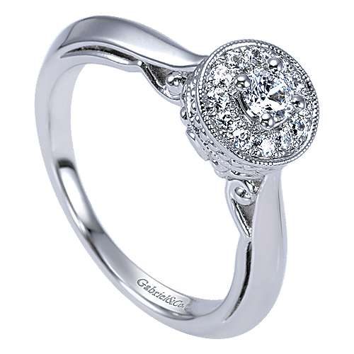 Devyn 14k White Gold Round Halo Engagement Ring