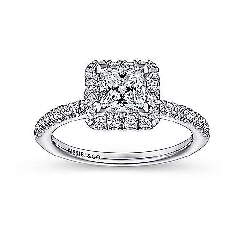 Diana 14k White Gold Princess Cut Halo Engagement Ring angle 5