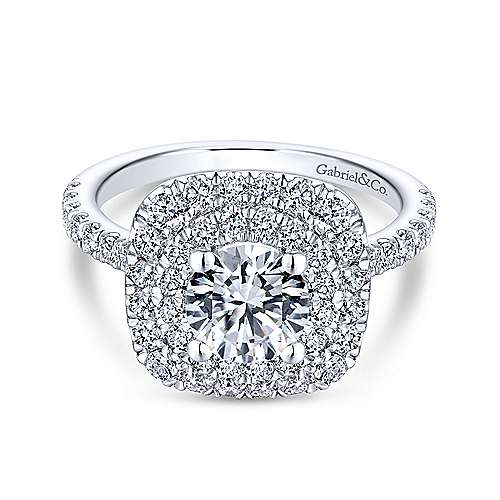 Gabriel - Diana 14k White Gold Round Double Halo Engagement Ring