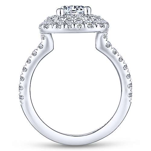 Diana 14k White Gold Round Double Halo Engagement Ring angle 2