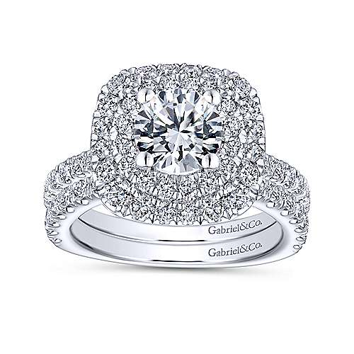 Diana 14k White Gold Round Double Halo Engagement Ring angle 4