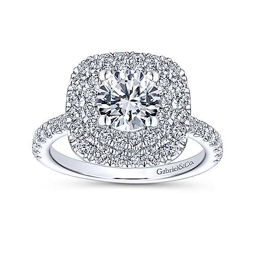 Diana 14k White Gold Round Double Halo Engagement Ring angle 5