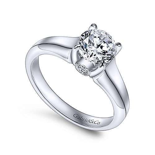 Diane 14k White Gold Round Solitaire Engagement Ring angle 3