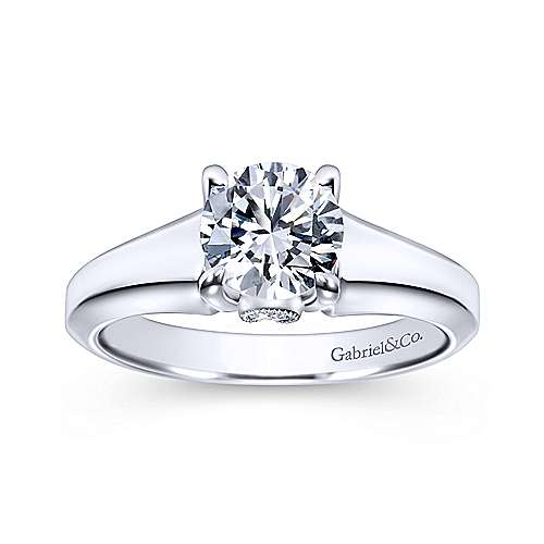 Diane 14k White Gold Round Solitaire Engagement Ring angle 5
