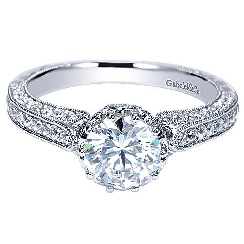 Gabriel - Dinah 14k White Gold Round Straight Engagement Ring
