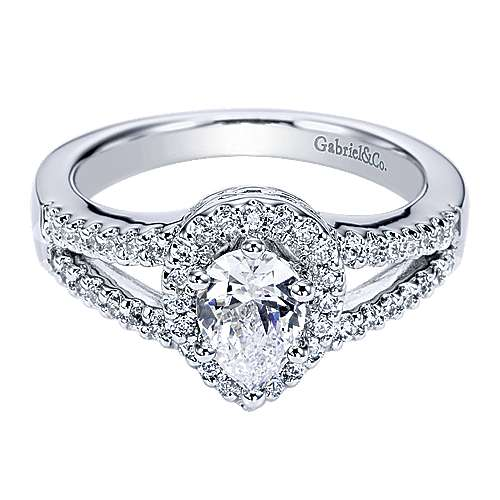 Dion 14k White Gold Pear Shape Halo Engagement Ring angle 1