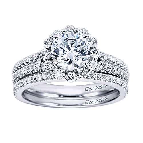 Dixie 14k White Gold Round Halo Engagement Ring angle 4