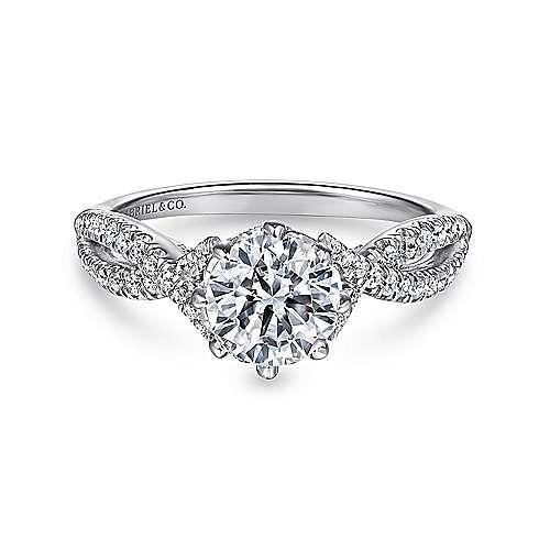 Gabriel - Dixon 14k White Gold Round Twisted Engagement Ring