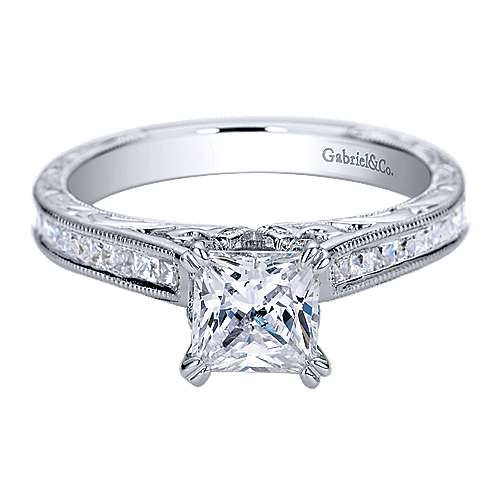 Gabriel - Dolores 14k White Gold Princess Cut Straight Engagement Ring