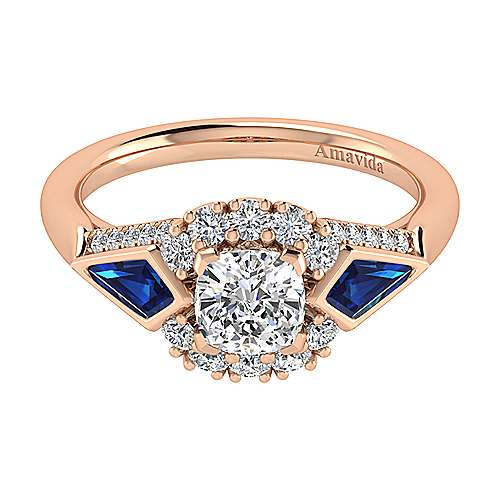 Gabriel - Dominique 18k Pink Gold Cushion Cut Halo Engagement Ring