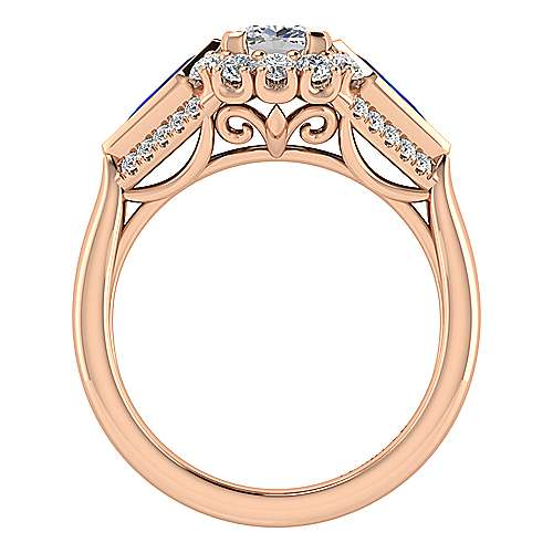 Dominique 18k Pink Gold Cushion Cut Halo Engagement Ring angle 2