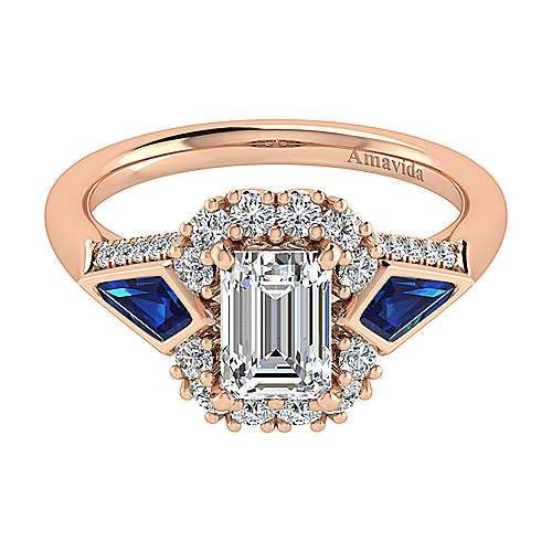 Gabriel - Dominique 18k Pink Gold Emerald Cut Halo Engagement Ring