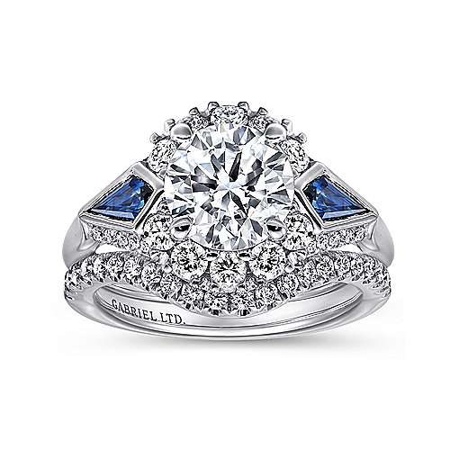 Dominique 18k White Gold Round 3 Stones Halo Engagement Ring angle 4