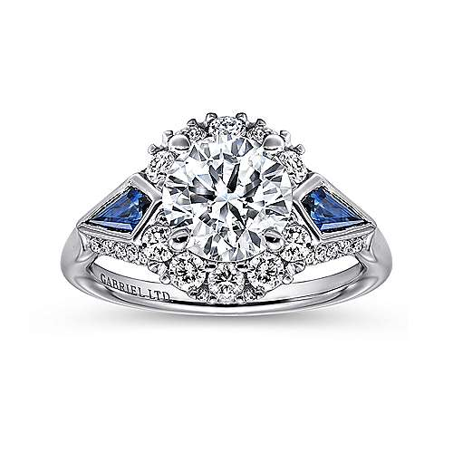 Dominique 18k White Gold Round 3 Stones Halo Engagement Ring angle 5