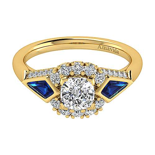 18k Yellow Gold Cushion Cut Halo