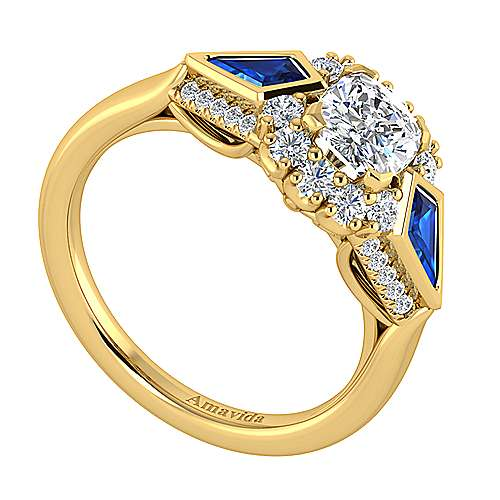Dominique 18k Yellow Gold Cushion Cut Halo Engagement Ring angle 3