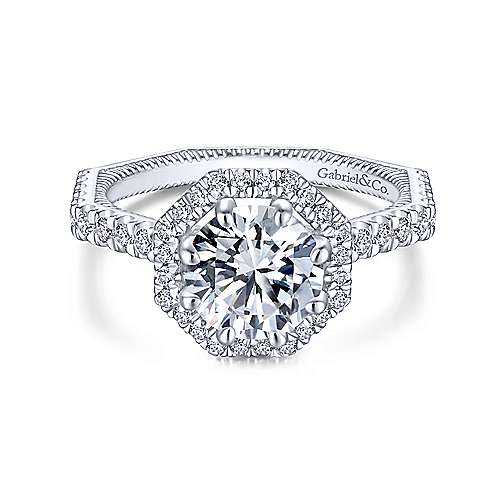 Donna 14k White Gold Round Halo Engagement Ring angle 1