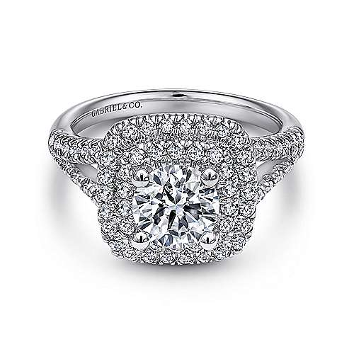 Gabriel - Dorian 18k White Gold Round Double Halo Engagement Ring