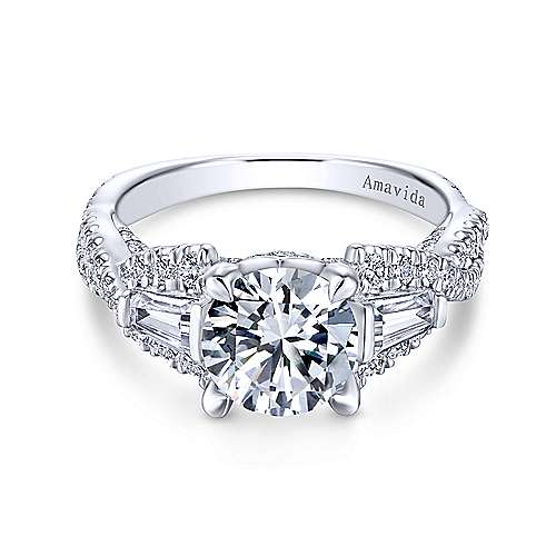 Gabriel - Doris 18k White Gold Round 3 Stones Engagement Ring