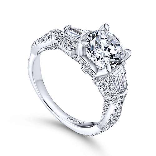 Doris 18k White Gold Round 3 Stones Engagement Ring angle 3