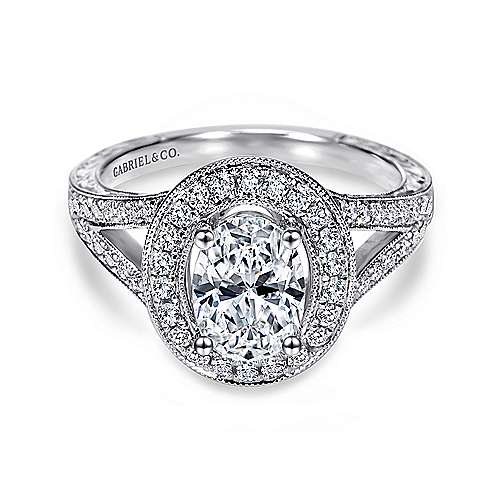 Gabriel - Dorothea 14k White Gold Oval Halo Engagement Ring