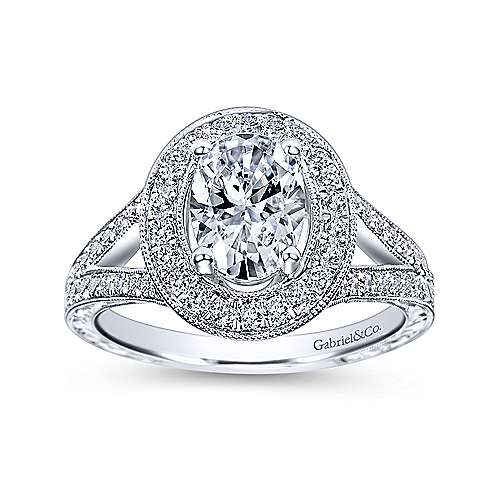 Dorothea 14k White Gold Oval Halo Engagement Ring angle 5