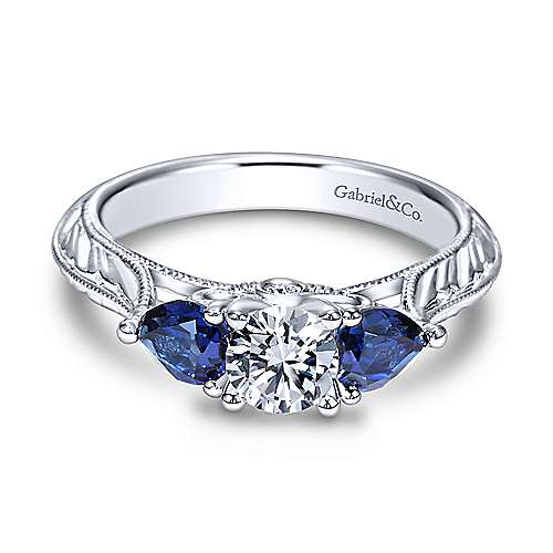 Gabriel - Dorothy 14k White Gold Round 3 Stones Engagement Ring