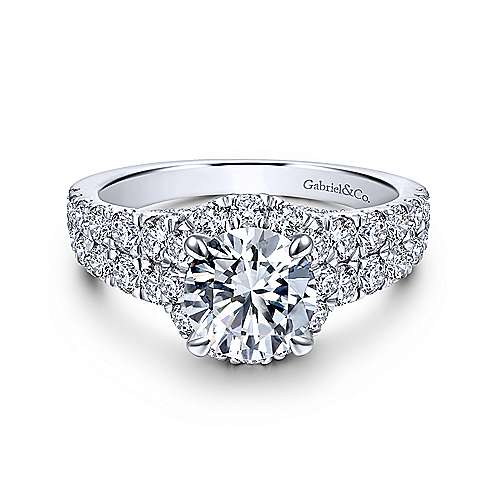 Gabriel - Dove 18k White Gold Round Halo Engagement Ring