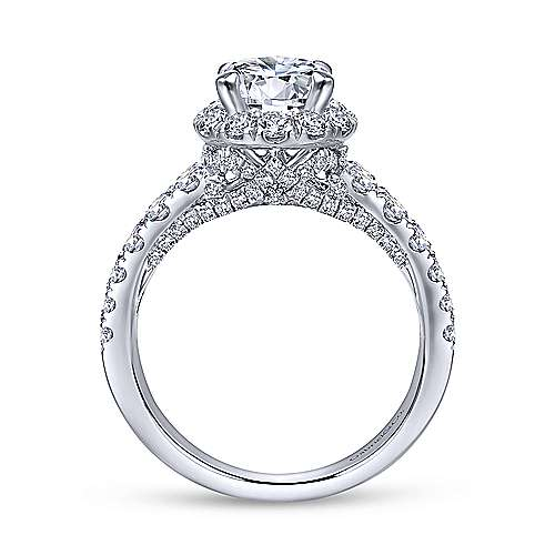Dove 18k White Gold Round Halo Engagement Ring angle 2