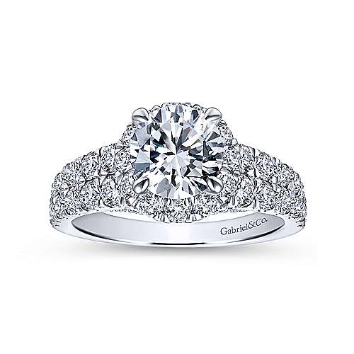 Dove 18k White Gold Round Halo Engagement Ring angle 5