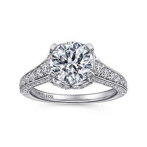 Dream 18k White Gold Round Straight Engagement Ring