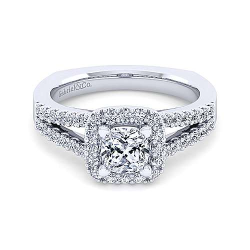 Gabriel - Drew 14k White Gold Cushion Cut Halo Engagement Ring